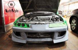 Установка переднего бампера Honda Prelude
